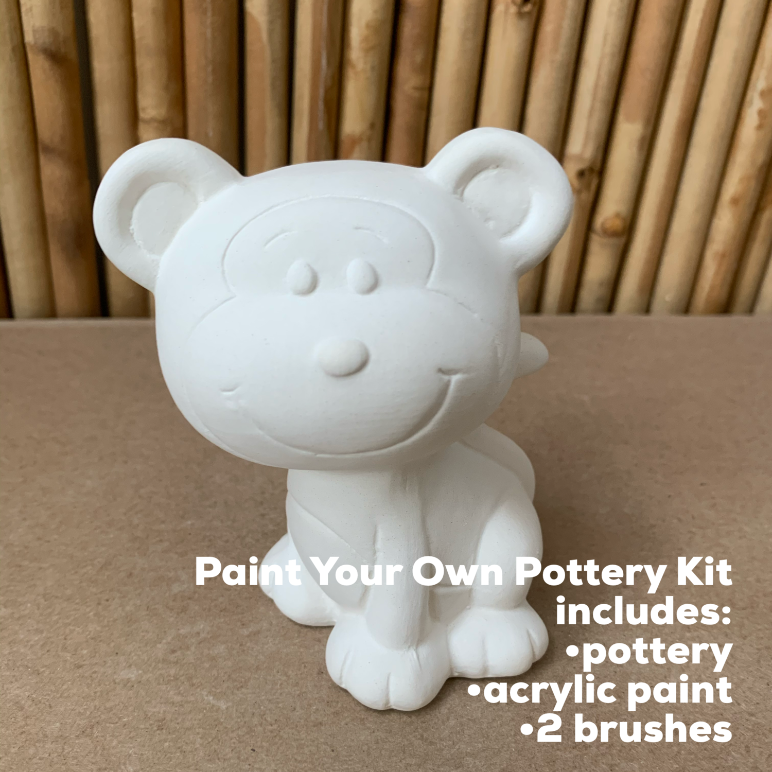 NO FIRE Paint Your Own Pottery Kit -  Ceramic Monkey Figurine Acrylic Painting Kit