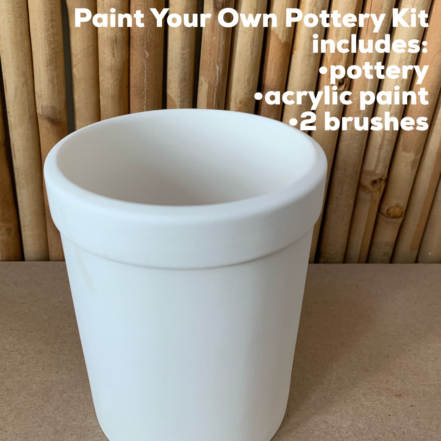 NO FIRE Paint Your Own Pottery Kit -  Ceramic Pencil Holder Acrylic Painting Kit