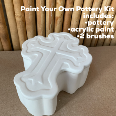 Ceramic Ornate Cross Box Acrylic Painting Kit