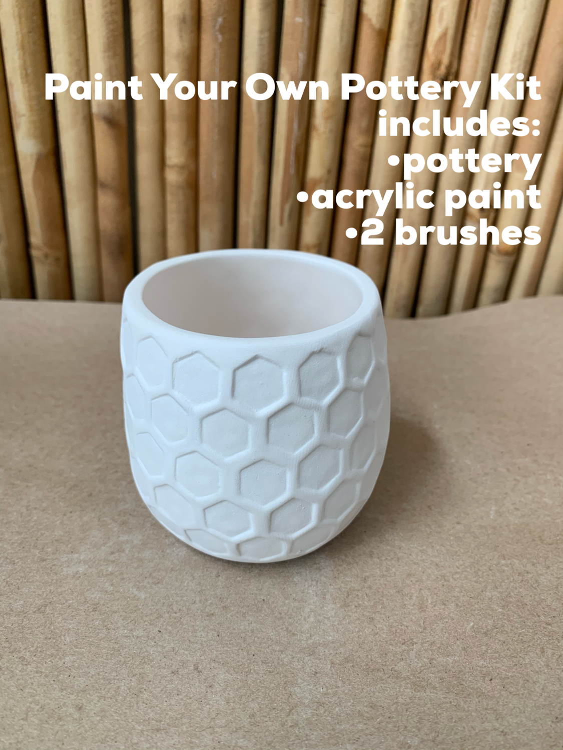 NO FIRE Paint Your Own Pottery Kit -  Ceramic Honeycomb Succulent Planter Acrylic Painting Kit