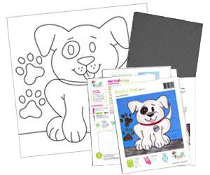 Playful Puppy Dog Acrylic Paint On Canvas Kit