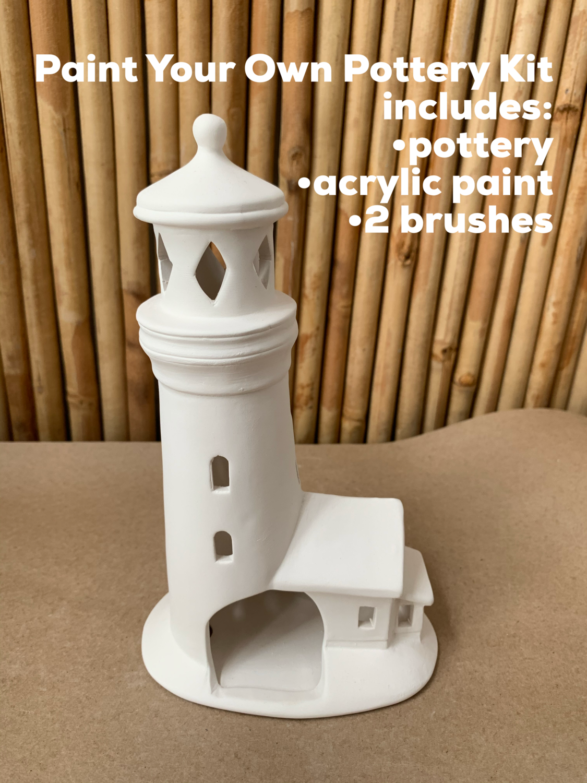 Ceramic Lighthouse Luminary Lantern Acrylic Painting Kit