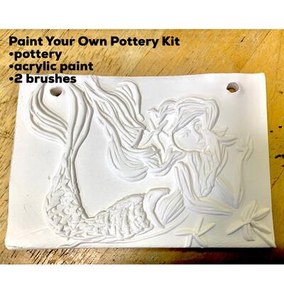 Ceramic Mermaid Tile  Acrylic Painting Kit