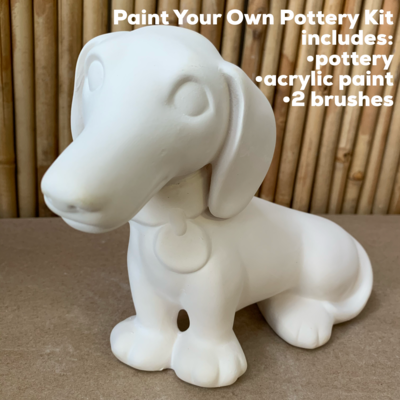 Ceramic Dachshund Puppy Hound Dog Bank Acrylic Painting Kit