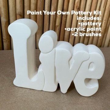 NO FIRE Paint Your Own Pottery Kit -  Ceramic Live Word Plaque Acrylic Painting Kit