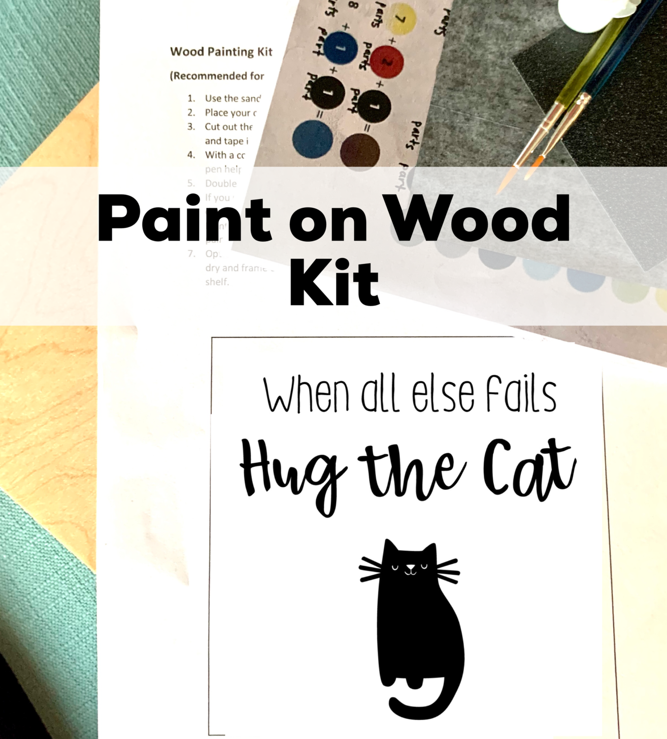 WHEN ALL ELSE FAILS HUG THE CAT Paint Your Own Wood Sign