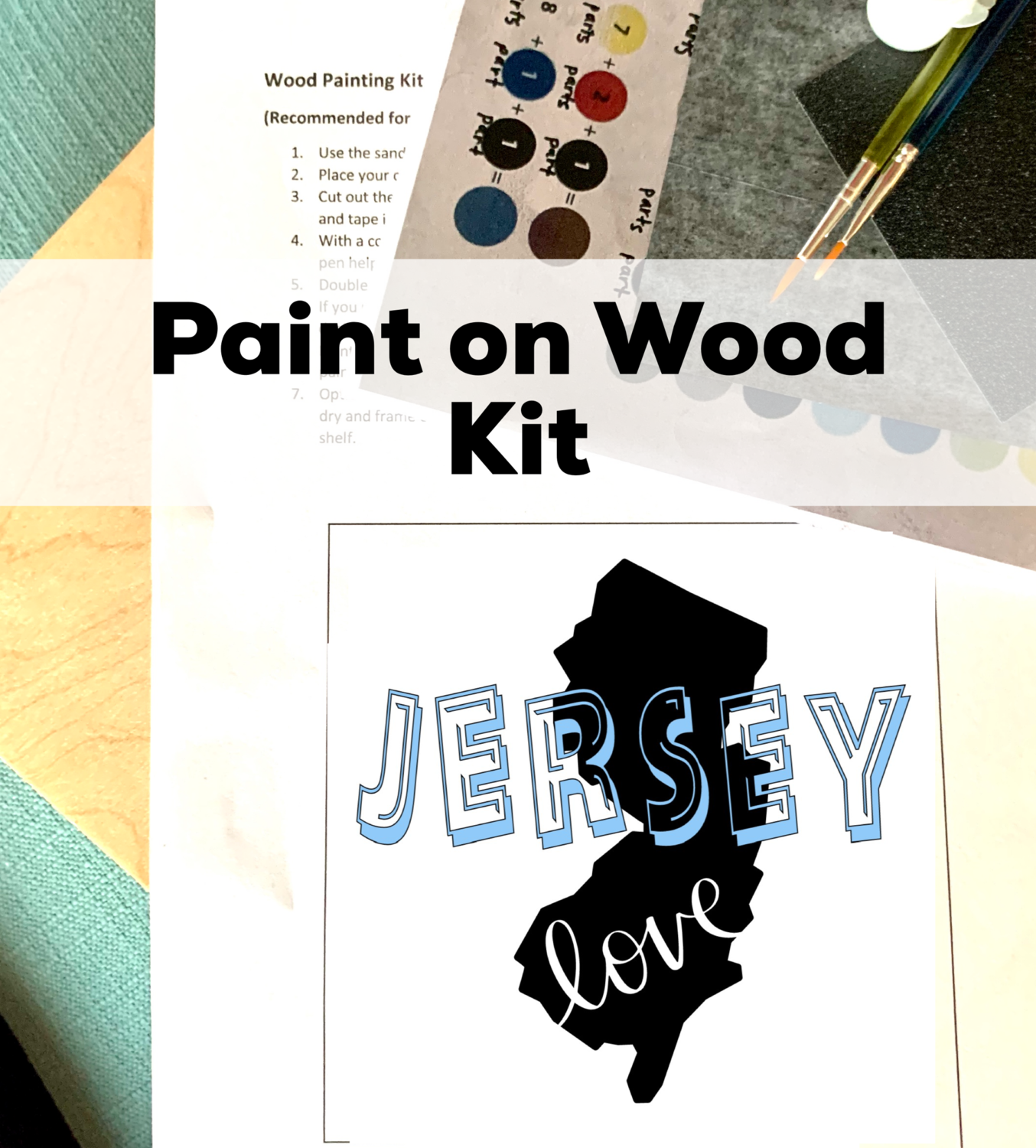 JERSEY LOVE Paint Your Own Wood Sign - Acrylic Painting Craft Kit