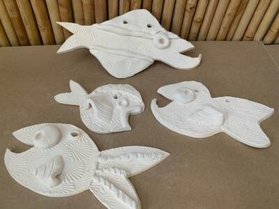 BRING BACK TO FIRE Ceramic - Set of 4 Whimsical Hanging Fish