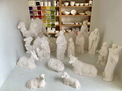 BRING BACK TO FIRE 17 Piece Ceramic Nativity Set Painting Kit