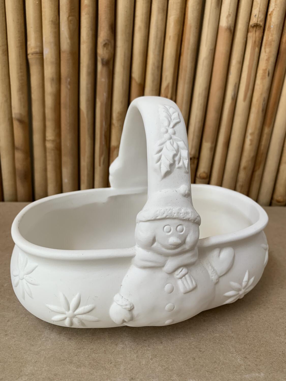 Paint Your Own Pottery - Ceramic   Snowman Basket Painting Kit