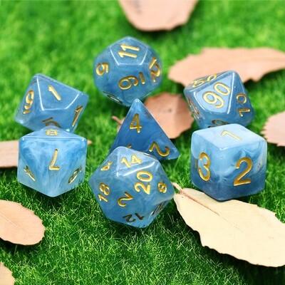 7 Die Set: Gilded Blue Jade