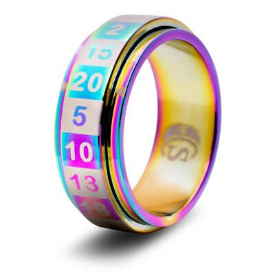 CritSuccess Ring: d20 Rainbow - Size 12