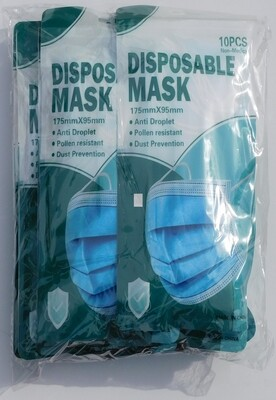 Disposable Non-Medical Masks With Meltblown Middle Layer 90%+. - 100-Pack. Only 75¢ Each! All sales final due to COVID-19.