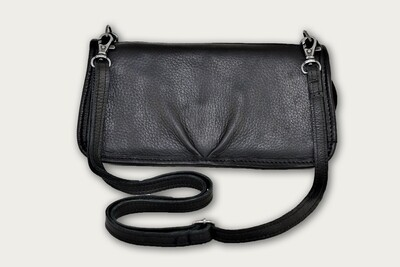 Black Leather Crossbody Clutch CL-606