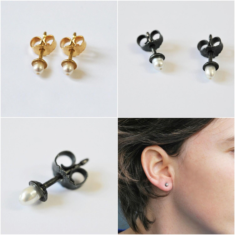 Boucles d'oreilles Perles d'eau douce argent noirci