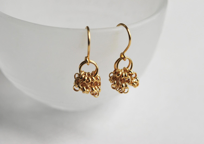 Boucles d'oreilles CHAINE pendantes, plaqué or
