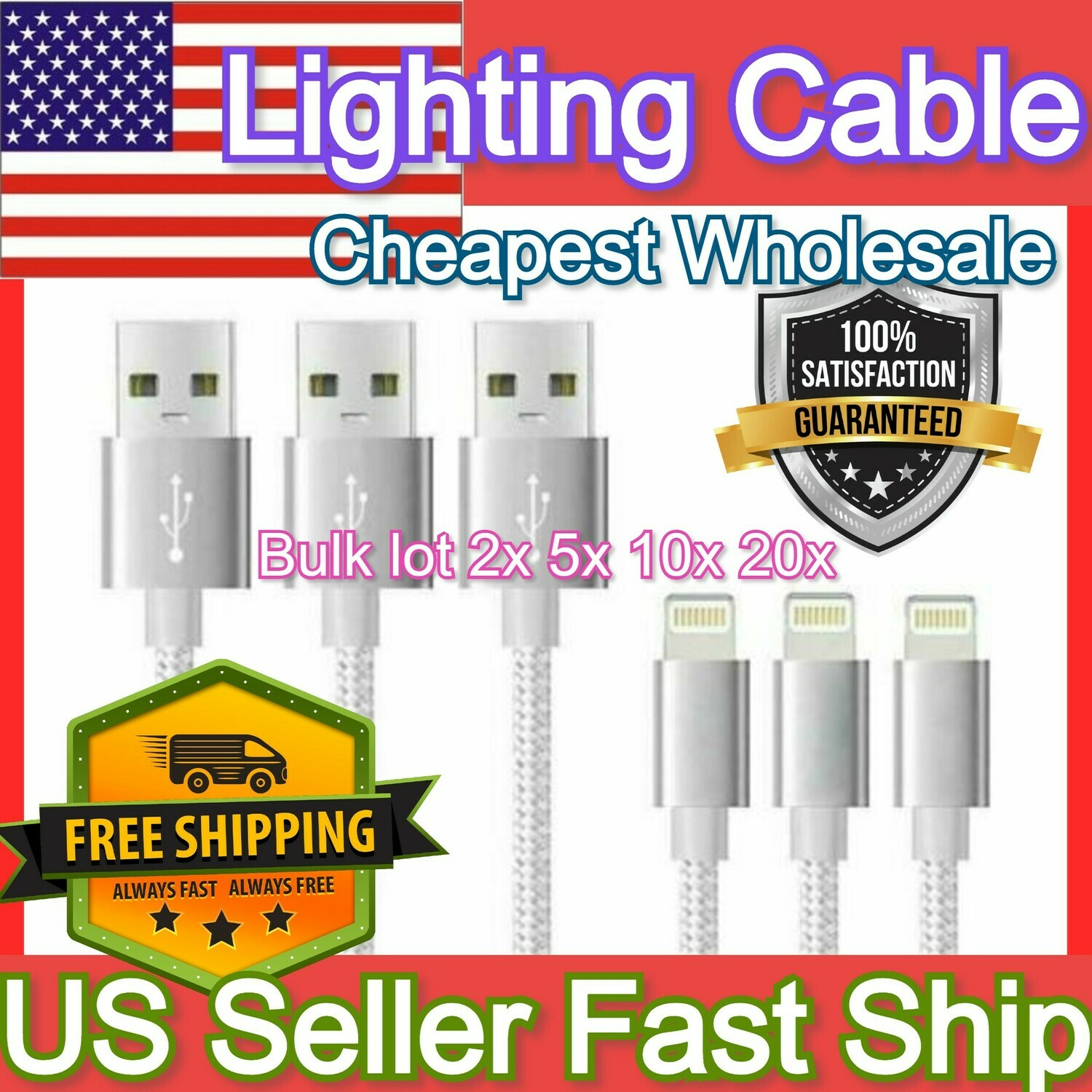 Lightning Charger 3FT USB Cable Iphone Ipad