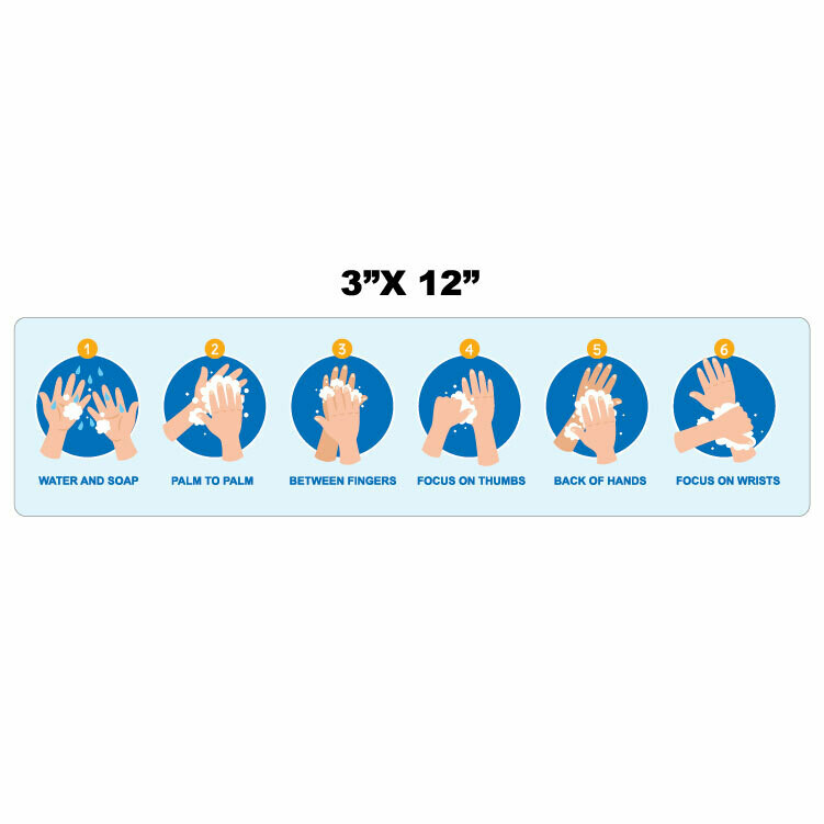 "12"" x 3"" Hand Washing Instructions Decal"