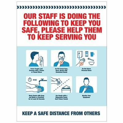 Staff Steps to Keep You Safe Decal