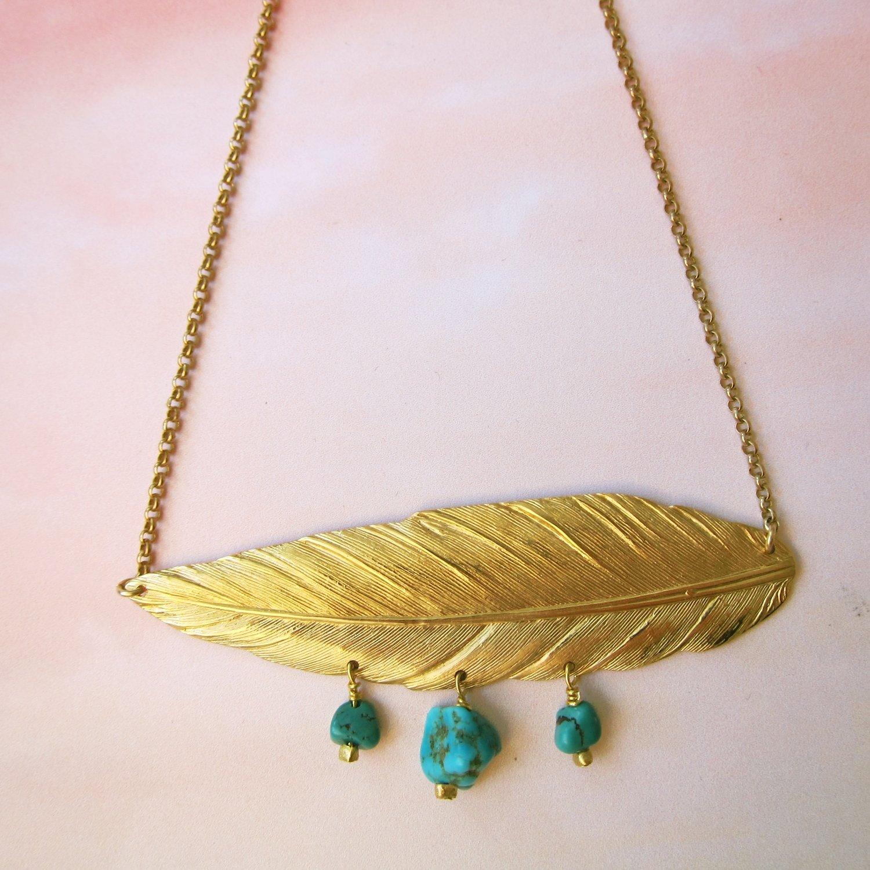 Collier Plume et turquoise