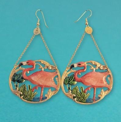 Boucles d'oreille Tiki Flamingo - Grand modèle