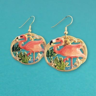 Boucles d'oreille Tiki Flamingo - Petit modèle