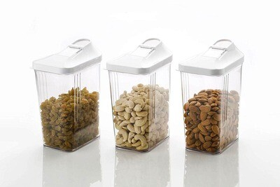 Easy Flow Plastic Kitchen Storage Jars & Container Set, Transparent Set of 3, (750 ml)