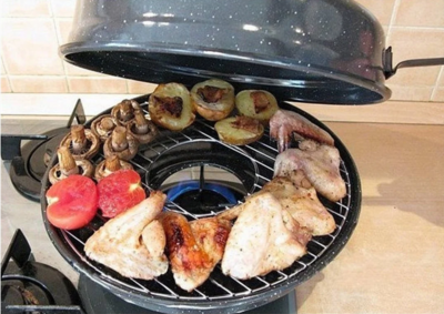 Сковорідка гриль-газ 33 см з емальованим антипригарним покриттям