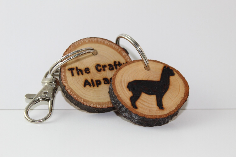 Alpaca Keychain - Handmade Wooden