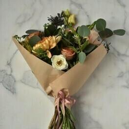 $90 Seasonal Wrapped Bouquet (no vase)