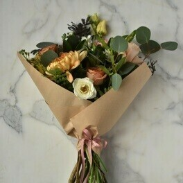 $175 Seasonal Wrapped Bouquet (no vase)