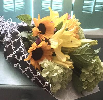 $50 Seasonal Wrapped Bouquet (no vase)