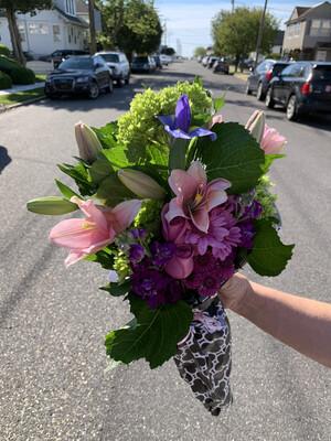 $45 Seasonal Wrapped Bouquet (no vase)