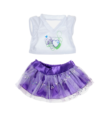 Purple Passion Hearts Skirt and Shirt Outfit - 16 inches