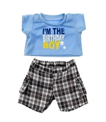 Birthday Boy T-Shirt with Black Plaid Shorts Outfit - 16 inches