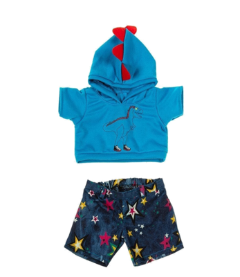 Dino Hoodie & Star Jean Shorts Outfit - 16 inches