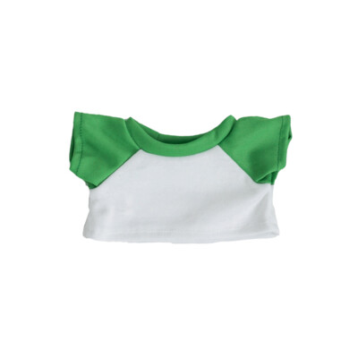 White with Green Sleeves Basic T-Shirt - 16 inches