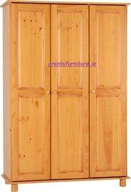 Sol 3 Door Antique Pine Wardrobe