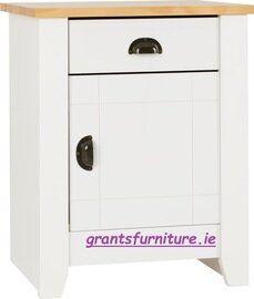 Ludlow 1 Drawer 1 Door Bedside Cabinet in White/Oak Lacquer