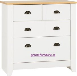 Ludlow 2+2 Drawer Chest in White/Oak Lacquer
