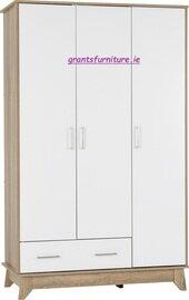 Stockholm 3 Door 1 Drawer Wardrobe in White/Mid Oak Effect Veneer