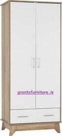 Stockholm 2 Door 1 Drawer Wardrobe in White/Mid Oak Effect Veneer