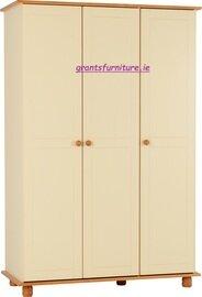 Sol 3 Door Wardrobe in Cream/Antique Pine