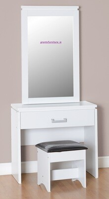 Charles 1 Drawer Dressing Table Set in White/Black Faux Leather