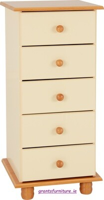 Sol 5 Drawer Narrow Chest in Cream/Antique Pine