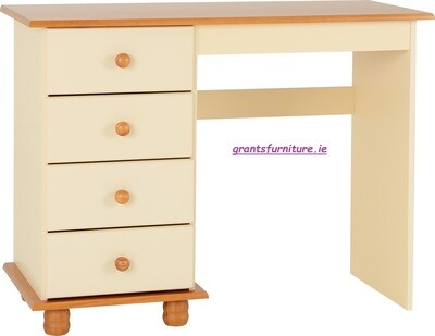 Sol 4 Drawer Dressing Table in Cream/Antique Pine