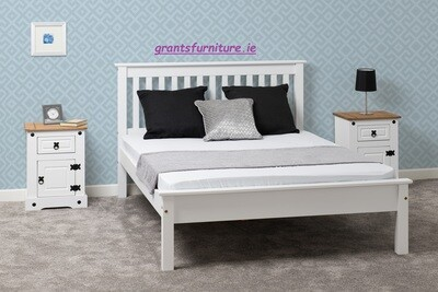 Monaco 5ft Bed White Low-end