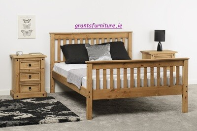 Monaco 5ft Bed Distressed Waxed Pine High-end