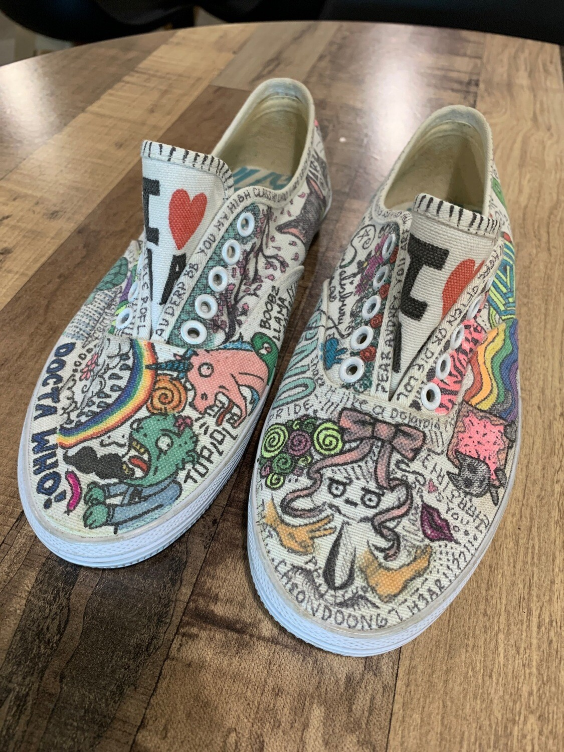 Street Art Hand-Inked Keds Sneakers Signed - Size US6