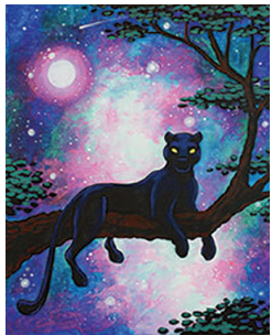 """Zoom Art Class: (Suggested ages 14 and up!) """"Cosmic Panther"""" July 24th"""